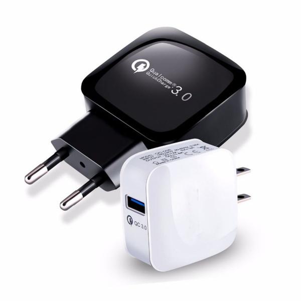 QC3.0 USB Duvar Şarj Hızlı Şarj Şarj Seyahat Güç Adaptörü Ev ABD AB Dock iphone XS MAX Samsung S10 Huawei