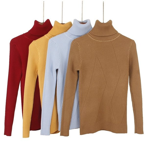 Quality High Autumn Winter Warm Women Sweater Thick Turtleneck Pullover Sweater Fashion Rib Knitted Female Jumper Top