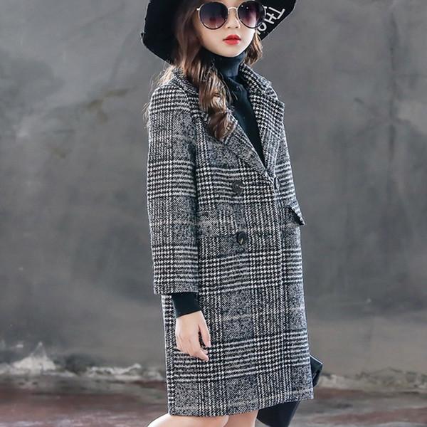 Long manteau de laine pour les filles manteaux d'hiver en Angleterre veste pour enfants à double boutonnage veste à carreaux fille 10 ans bébé vêtements marque