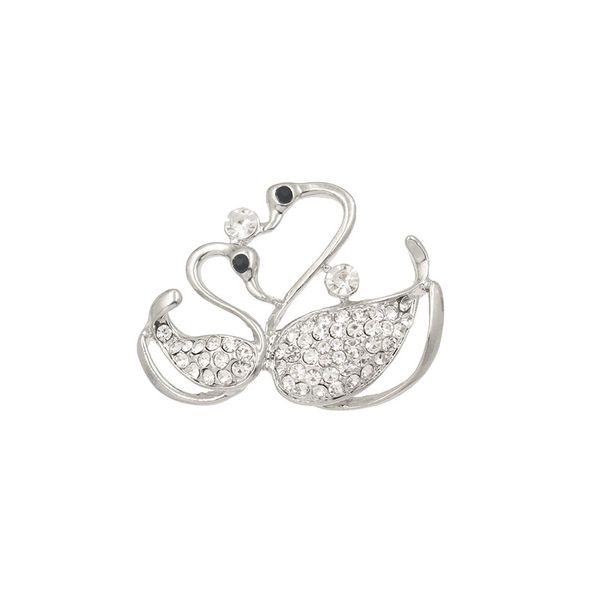 baiduqiandu Cute Crystal Double Swan Brooch Pins Lovers Animal Rhinestones Brooches for Women Wedding DIY Bouquet Bridal Jewelry