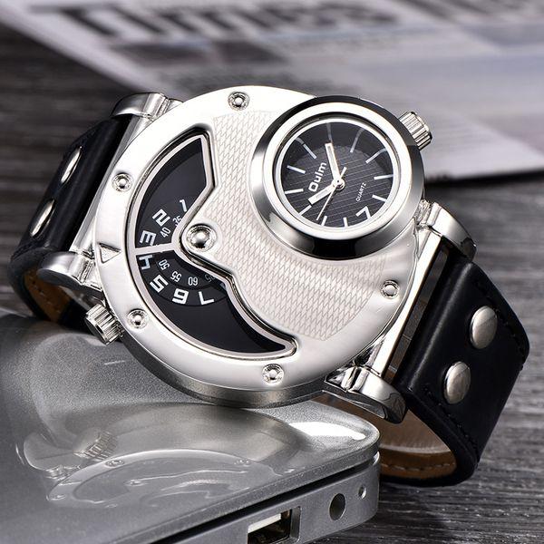 Oulm Relógios projeto original multipe Time Zone Leather Strap Male Quart de pulso Oulm 9591 Moda Masculina Relógios reloj hombre