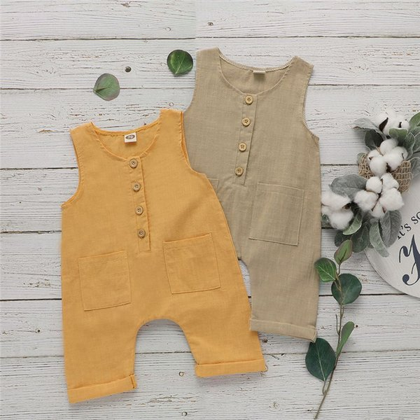 INS più recente estate Toddler Baby Boys tuta Pagliaccetti INS in cotone di lino anteriore pulsante di legno senza maniche in bianco tuta neonato ragazze pagliaccetto 3-18 m