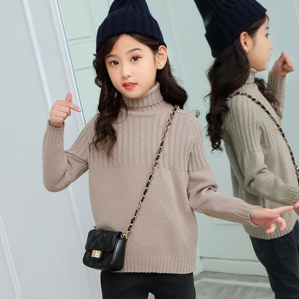 48c581c8b Spring Fall Winter Toddler Teen Children's Clothing Girls Pullover Sweaters  Long Sleeve Turtleneck Kids Knit Sweater