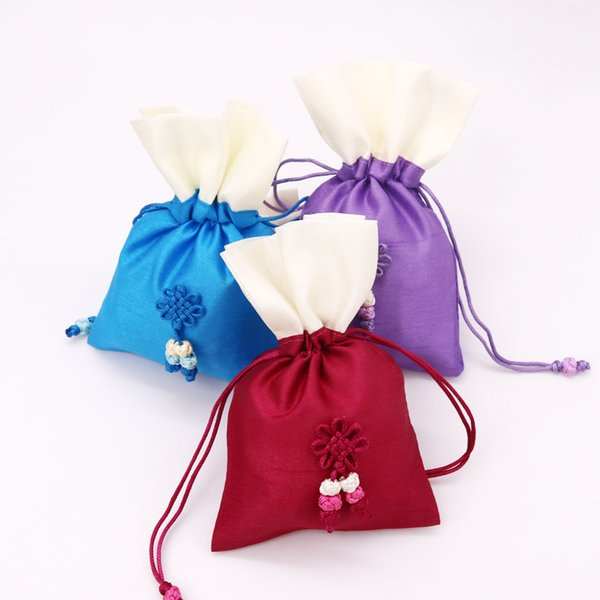 wholesale 10pcs/lot dark red satin gift bag 10x15cm cute boutique jewelry packaging bag wedding favors candy gifts packing bags - from $34.37