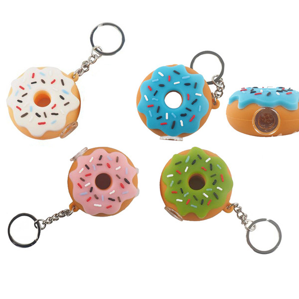 Donut Style Silicone Small Oil Burner Pipes Wholesale Hand Pipe Pyrex Smoking Pipes With Key-chain And Glass Bowl 100 Pcs/lot