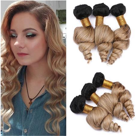 Malaysian Human Hair Honey Blonde Ombre Loose Wave Bundles Deals 3Pcs 300g #1B/27 Dark Roots Light Brown Ombre Virgin Hair Weave Wefts