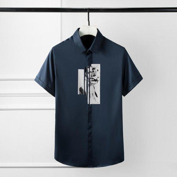 Katı Renk Erkek Gömlek büyük beden 4XL Çiçek Baskı Kısa Kollu Erkek Gömlekler Lüks Slim Fit Parti Adam