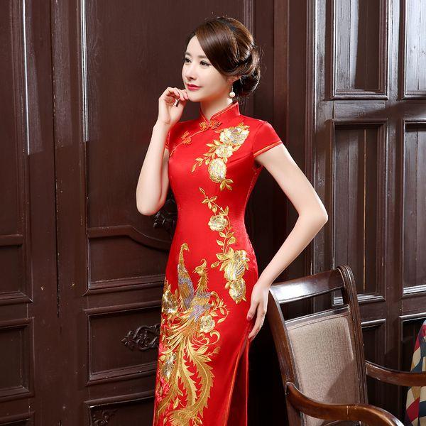 Vintage elegant high quality plus size short sleeve red/pink embroidery silk-like long cheongsam wedding dress evening dress party dress