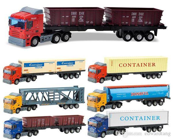 LS Diecast Alloy Toy Model Car, Truck Container, Mercadorias Van, veículo de transporte, Trailer de Carro Tanque Wagon, Ornament, Xmas Kid presente de aniversário, 2-2