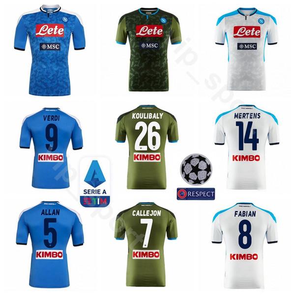 2019 2020 ssc napoli soccer 99 milik jersey men 24 insigne 8 fabian 9 verdi 26 koulibaly 1 meret football shirt kits s-xxl