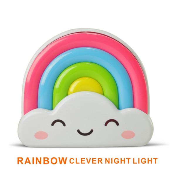 Controllo sensore di luce moderna notte della luce suono Mini Rainbow del fumetto Childroom Bagno Camera da letto della lampada per il regalo bambino romantica luci colorate