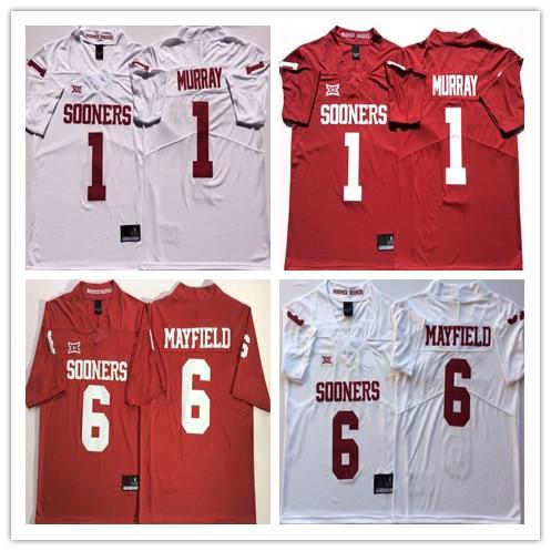 2019 men's Oklahoma Sooners 1 Kyler Murray 6 Baker Mayfield NCAA Football Jerseys Double Stiched High Quanlity College Football Jerseys