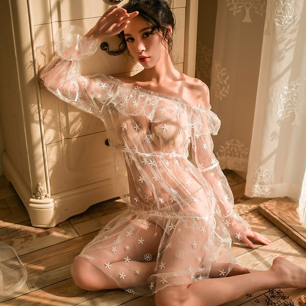 Sexy womans lingerie summer mesh embroidery perspective temptation one shoulder long sleeve nightdress suit