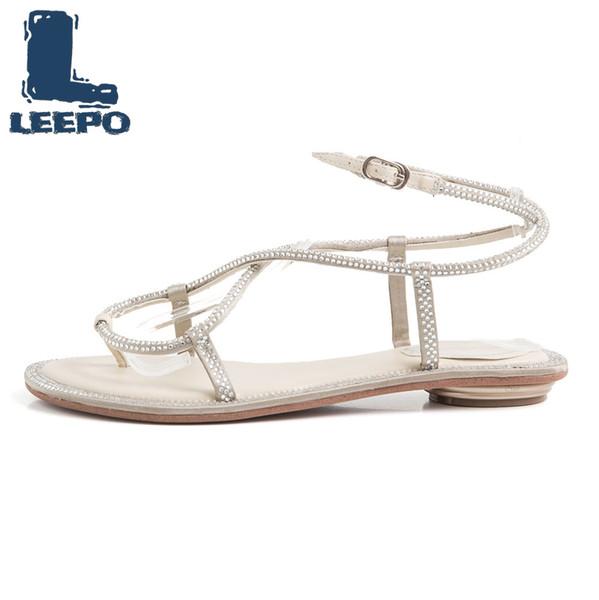 LEEPO Sandals Women Ankle Strap Shoes Donna Summer Shoes with A Strap Fibbia femminile Crystal Sandali piatti Calzature quotidiane da donna