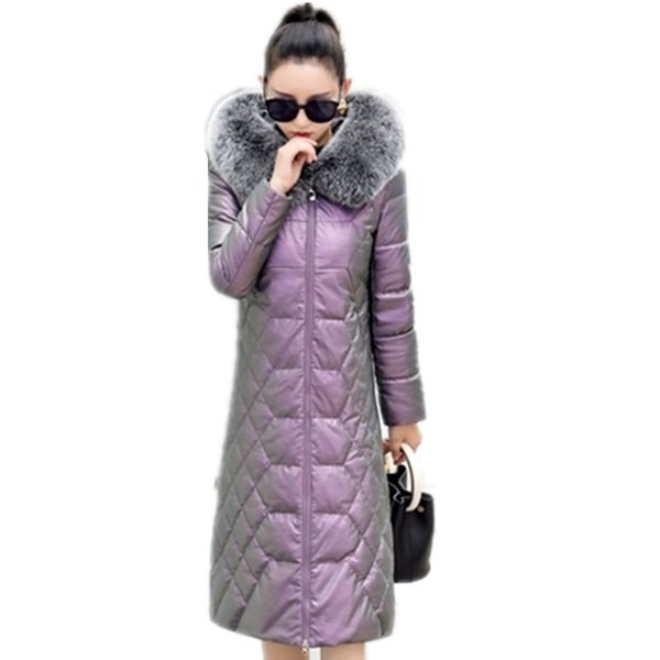 Kış yeni high-end deri aşağı ceket ceket kadınlar uzun İnce moda tilki kürk yaka kalınlaşmak ördek aşağı sıcak kapüşonlu ceketler G925