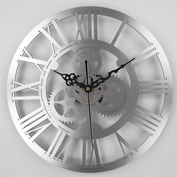 top popular European antique gear wall clock vintage mechanical gear clock Large Wall For Art Home Living Room Decoration 2020