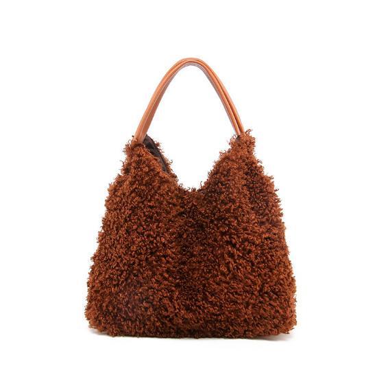 kuzu peluş çanta Retro vahşi omuz çanta Moda sıcak kadın çantası sonbahar ve kış