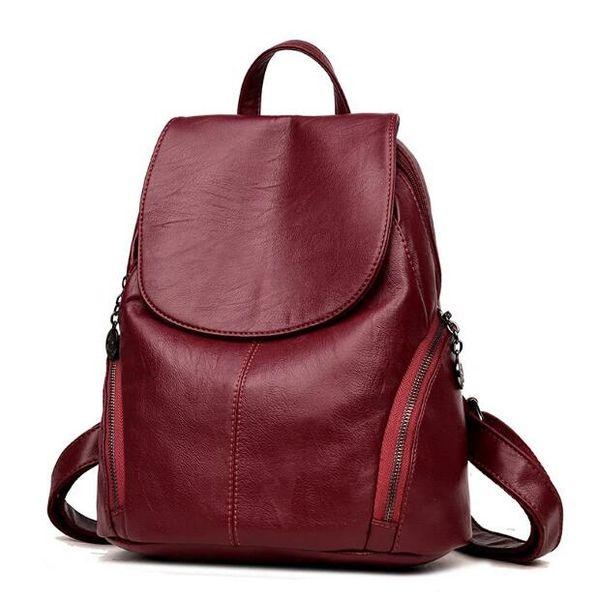 Backpack tide female bag Korean version of the simple backpack fashion soft leather travel bag Designer leather small double back