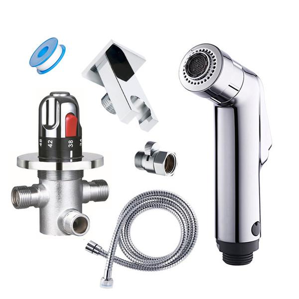 Miscelatore termostatico a parete a due funzioni, rubinetto bidet, miscelatore termostatico, doccetta a mano