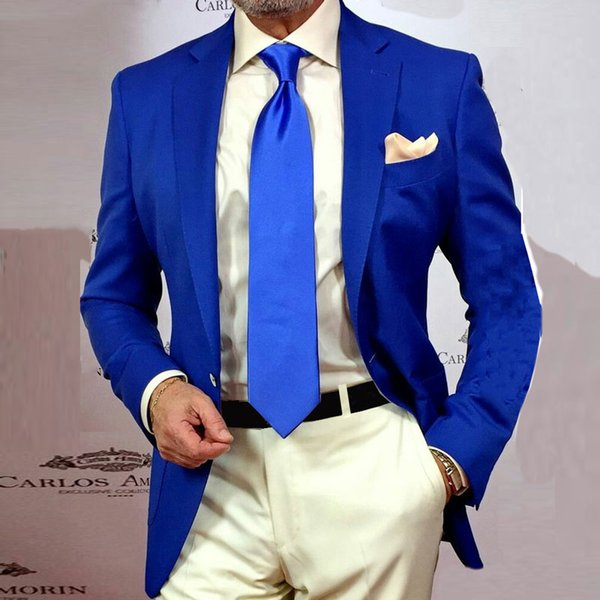 Summer Royal Blue Men Wedding Suits Handsome Man Suits Groom Tuxedos Two Buttons 2Piece Coat Pants Cotume Homme Slim Fit Terno Masculino