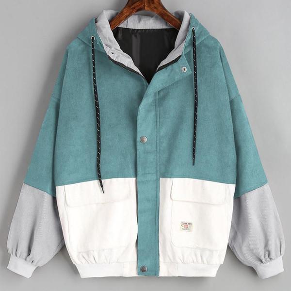 Верхняя одежда пальто куртки с длинным рукавом Вельвет лоскутное негабаритных молния куртка ветровка пальто и куртки женщины jul25