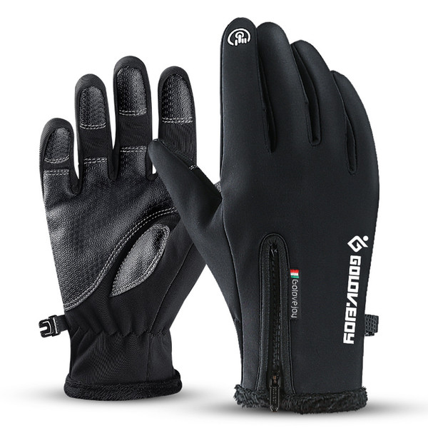 top popular New Full Finger Zipper Winter Cycling Skiing Unisex Windproof Touch Screen Gloves Plush Gloves Motorcycle Cycling Riding Tactical Gloves 2019