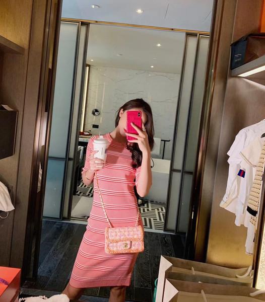 Robes de créateurs de mode pour femmes d'été décontractée col rond Slim robes longues de luxe femmes tricotés robes à rayures vêtements de marque d'été pour femmes