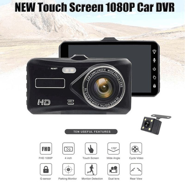Dual Lens Full HD 1080p 4 polegadas IPS Car DVR Veículo Camera Video Recorder G-sensor de estacionamento Modo WDR traço Cam Filmadora Camera