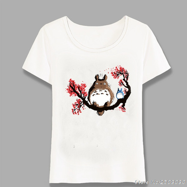 New Comics Women T-Shirt Alone In The Forest Fox Print T Shirt Summer Fashion Casual Tops Lovely Tree Art Girl Tees Harajuku
