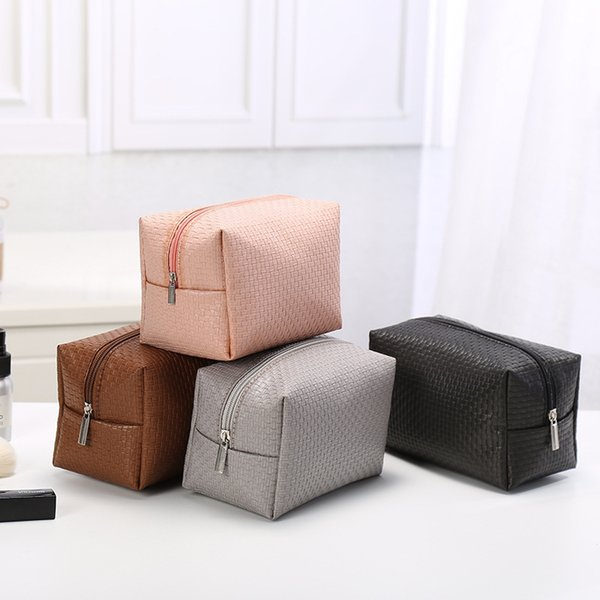 top popular Old cobbler direct deal Cosmetic Bag Home Furnishing Storage bag Handy handle fashion Korean Edition Wash bags Pure color 2020