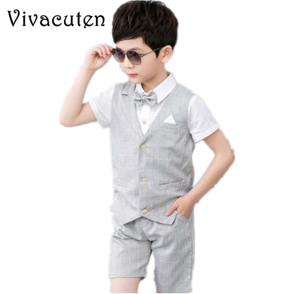 a860342db1f22 2019 Boys Vest + Shorts With Bow Tie Kids Summer Clothing Sets Gentleman  Children Wedding Party Wear Plaid Formal Suits From Ys_shop, $14.19 | ...