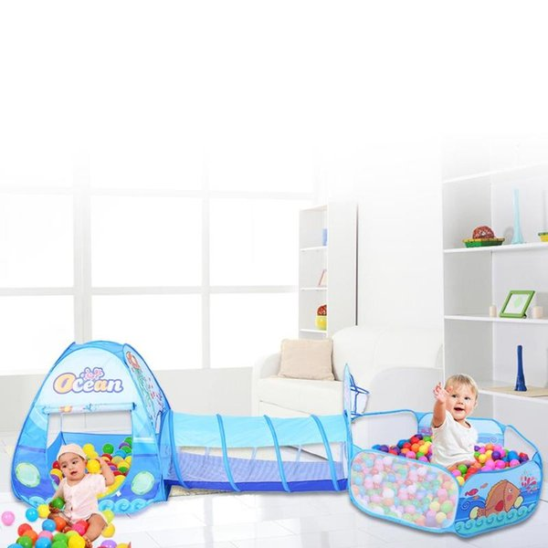 3 in 1 Foldable Tent For Kids Crawl Tunnel Play Tent Ocean Ball Pool Toy Kit Inflatable Pool Folded Portable Kids Playhouses