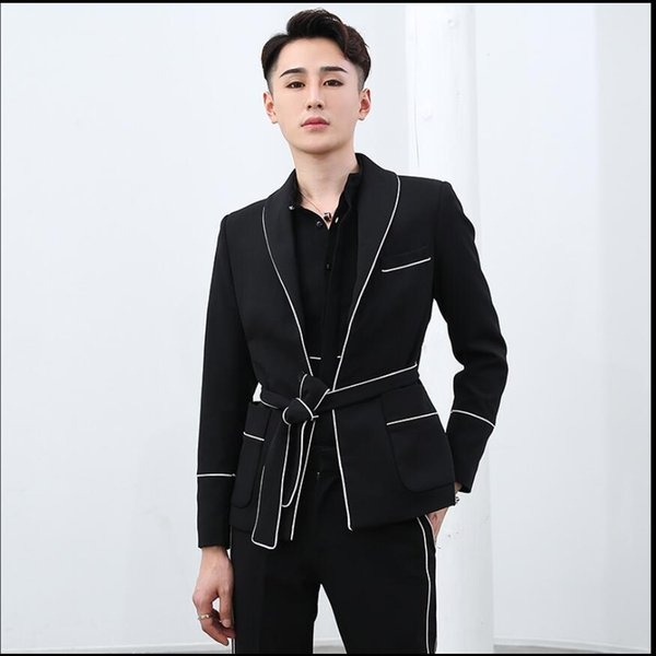 2019 Fashion New men's suits British style casual waist belt splice color matching two-piece suit hairstylist singer costumes