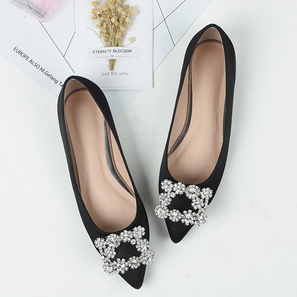 Plus size43 Genuine Leather Women Flat Ballet Bling Crystal Pointed Toe Flats Shoes Elegant Lady shoes wedding shoes Plus size43 Genuine Leather Women Flat Ballet Shoes Bling Crystal Pointed Toe Flats Shoes Elegant Lady shoes wedding shoes
