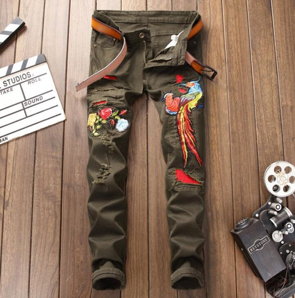 embroidery Army Green Phoenix jeans mens original design New Europe and America style fashion Hipster Hole Men's slim pants