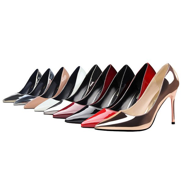 Women Stiletto High Heels Dress Shoes Party Wedding Evening Pumps Office Lady Leather Stilettos Sexy Female Classic Pumps