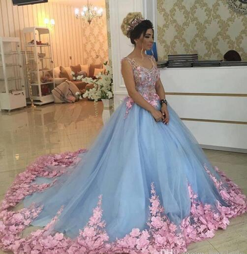 Baby Blue 3D Floral Masquerade Ball Gowns 2019 Luxury Cathedral Train Flowers Wedding Dresses Brides Gowns Sweety Girls 16 Years Dress