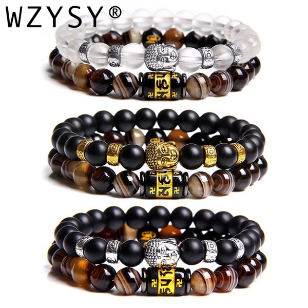 new religious black glass alloy buddha head bracelet with six word truth stripe stone bracelet charm jewelry for men and women