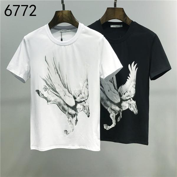 2020ss primavera e l'estate nuovo cotone di alta qualità di stampa manica corta rotonda pannello collo T-shirt Dimensione: m-L-XL-XXL-XXXL Colore: nero r38 bianco