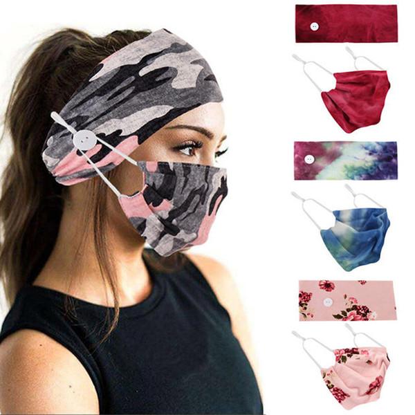 top popular 2020 Face Mask Holder Headbands with Button Tie Dye Fashion Face Mask Floral Camo Masks Women Sports Yoga Elastic Hair Band 2pcs set D8503 2021