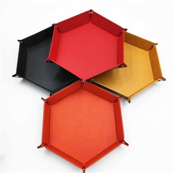 Scatola di immagazzinaggio desktop Sei angoli PU pieghevole pieghevole Piastra Rosso Nero Viola multi colori Organizer Nuovo arrivo 11yl L1