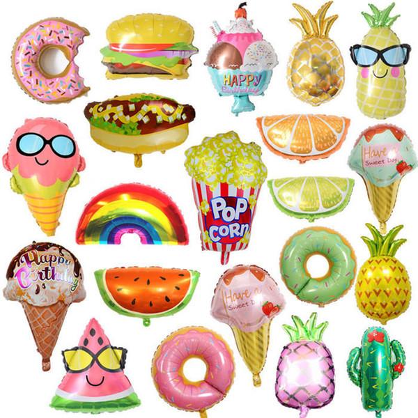 Nouveau Beau Fruits Alimentaire Forme Feuille Ballon Ananas Pastèque Crème Glacée Beignet Hamburger Ballons Fête D'anniversaire Baby Shower Décoration