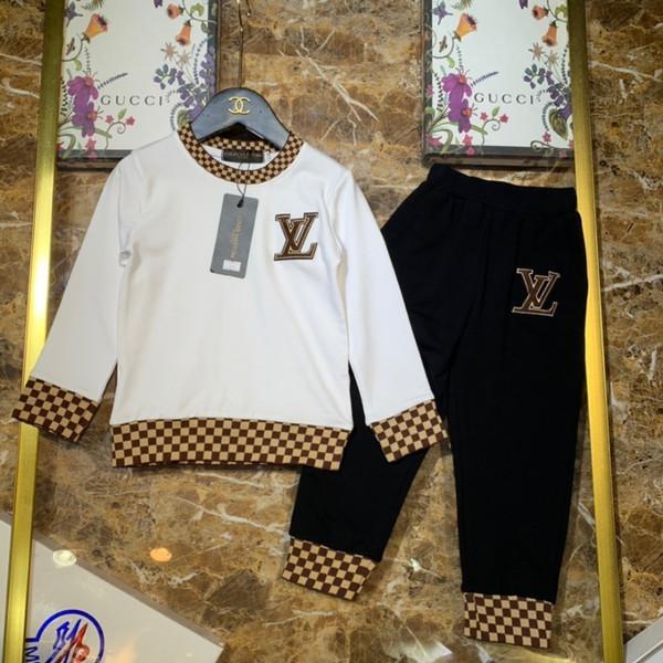 Ragazzi vestiti di design per bambini set colletto tondo lavorato a coste in maglia di tessuto di puro cotone impiombato con motivo di puro cotone
