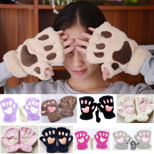 Women Cosplay Bear Cat Paw Cover Mittens Gloves For Girls Winter Warm Soft Plush Gloves Halloween Christmas WX9-1540