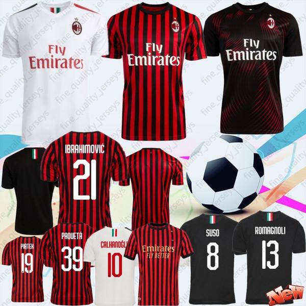 Tailandesa AC Milan 2020 de fútbol de los jerseys 21 Camisa IBRAHIMOVIC piątek Fútbol Paquetá SUSO BONAVENTURA HIGUAIN CALDARA Hombres jerseys