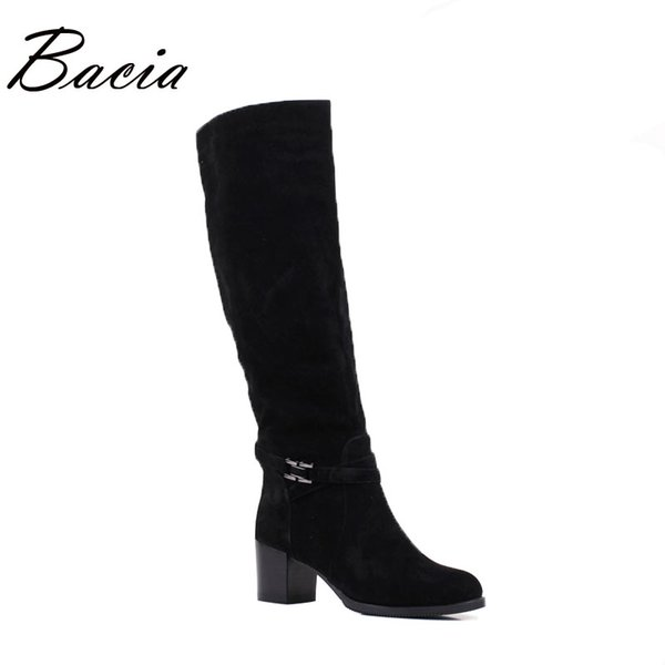 Bacia Winter boots For Women Genuine Leather Sheep Suede Boots Wool Fur & Short Plush Rubber Soles Russian Warm Shoes 2016 VB077