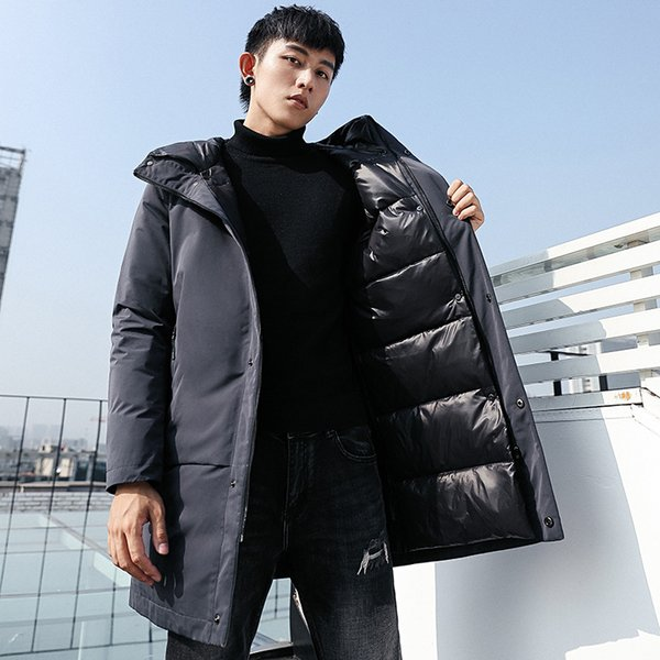2018 autumn and winter Outdoor new casual clothing thicken hooded men long White duck down jacket black gray