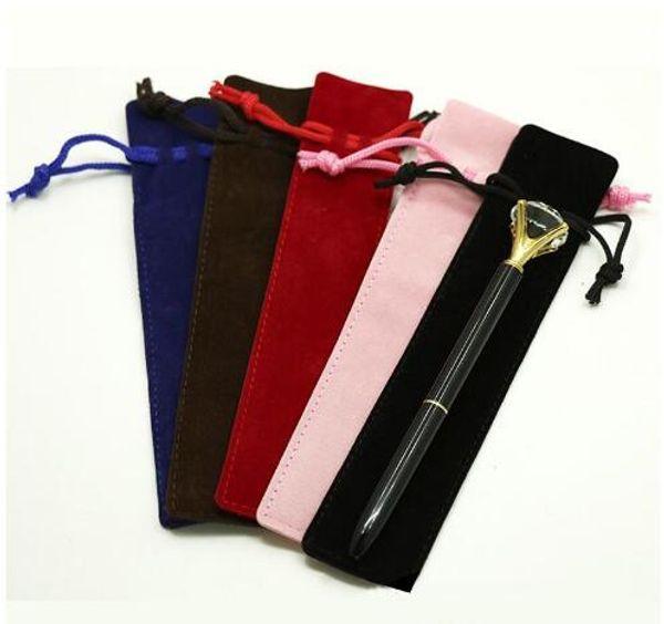 Titolare Creative Design peluche velluto della penna della cassa del sacchetto della penna singolo sacchetto della matita con la corda Ufficio Scolastico scrittura studente forniture regalo di Natale GD3