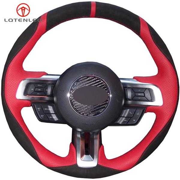 LQTENLEO Camurça preta Couro vermelho Costurado à mão Capa de volante de carro para Mustang 2015-2020 Mustang GT GT350R 2015-2020