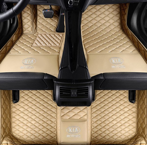 Applicabile al lussuoso tappetino per auto Kia Cadenza 2011-2017 circondato da tappetini per tappeti interni in pelle impermeabile verde
